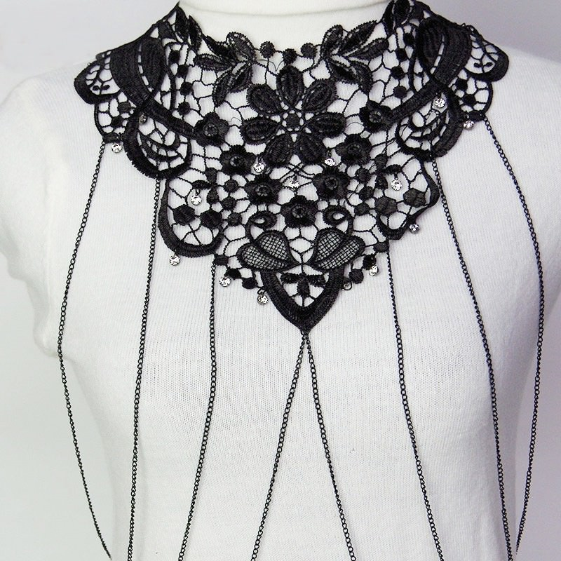 1987-6d84f8cb6dc7ab8c9e15b08a811862b2 Sexy Body Chain Women Necklaces&Pendants Black Lace Tassel Punk Long Necklace 2016 New Designer Flower Collares Fashion Jewelry