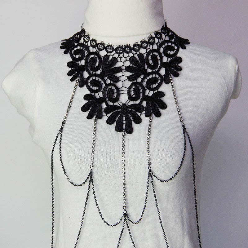 1987-af5045065b924a4131c0d7fcd80b1f9d Sexy Body Chain Women Necklaces&Pendants Black Lace Tassel Punk Long Necklace 2016 New Designer Flower Collares Fashion Jewelry