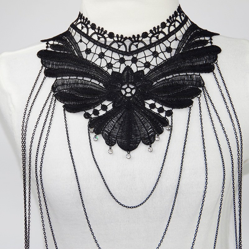 1987-d0976072260abfb6e3f6541744e95a2a Sexy Body Chain Women Necklaces&Pendants Black Lace Tassel Punk Long Necklace 2016 New Designer Flower Collares Fashion Jewelry