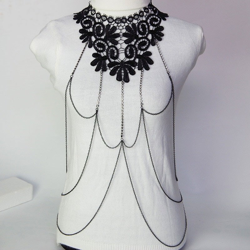 1987-ff7dafd70836f75166b82b67f530d8fa Sexy Body Chain Women Necklaces&Pendants Black Lace Tassel Punk Long Necklace 2016 New Designer Flower Collares Fashion Jewelry