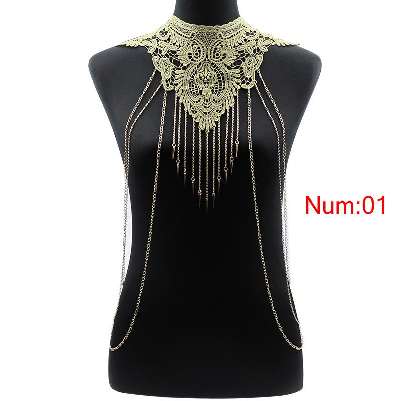 1988-0759e35bd6e7740df1823fd05c7e8b87 Elegant Party Gold/ Black Lace Necklace With Body Chain