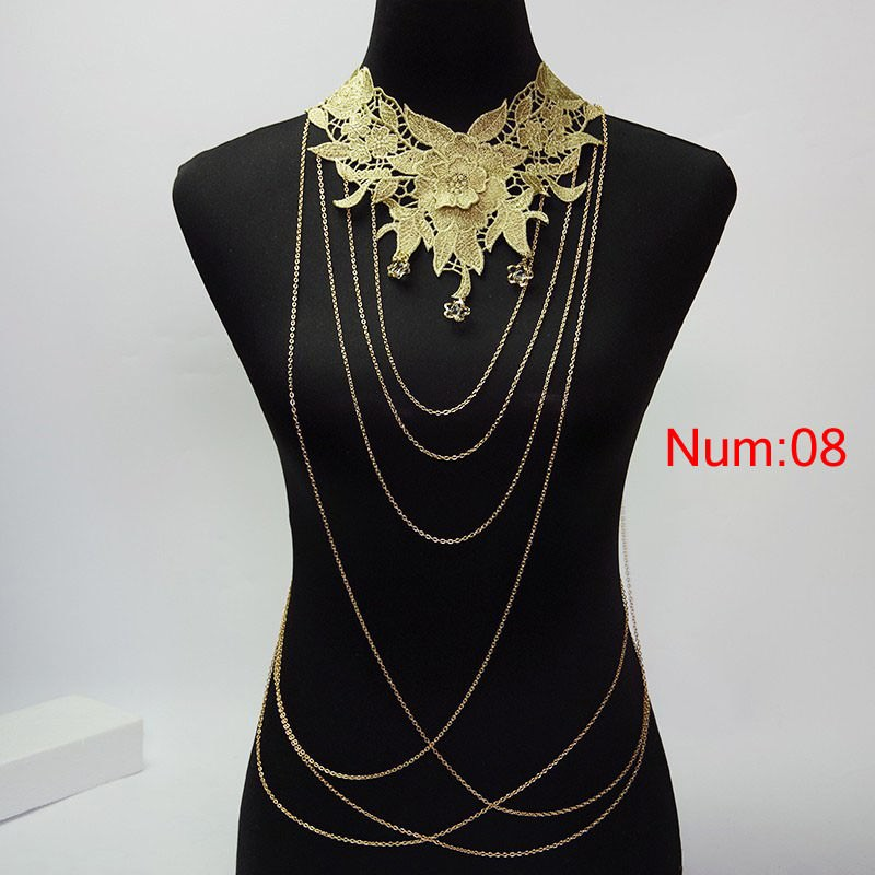 1988-2dbf3d313b3159d4945ed44aaf5cd1ea Elegant Party Gold/ Black Lace Necklace With Body Chain