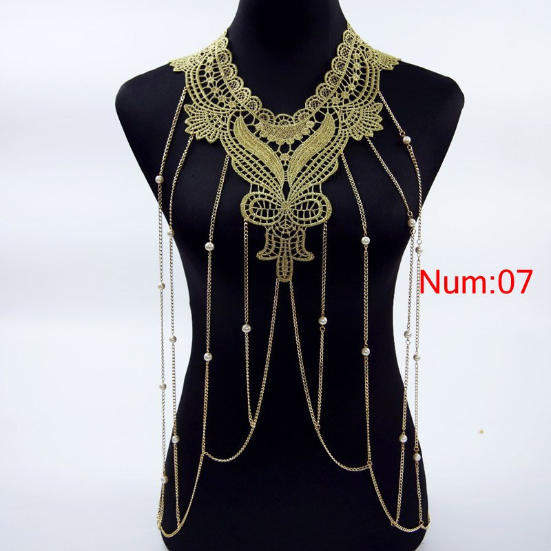 1988-468cd1189a83eac241106ac6e817cb1c Elegant Party Gold/ Black Lace Necklace With Body Chain