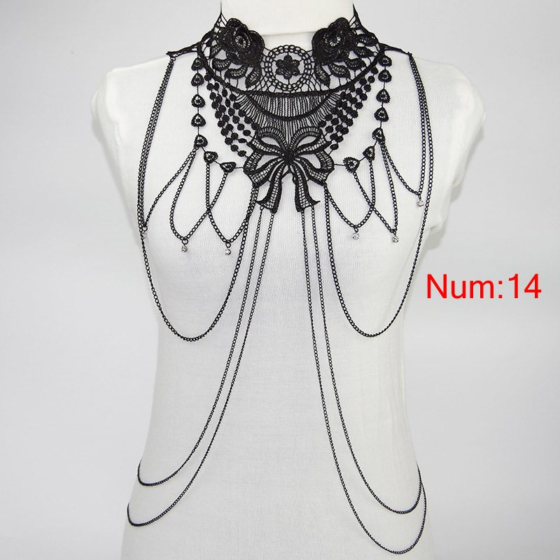 1988-79782a9b724b27ae36f35339c817238f Elegant Party Gold/ Black Lace Necklace With Body Chain