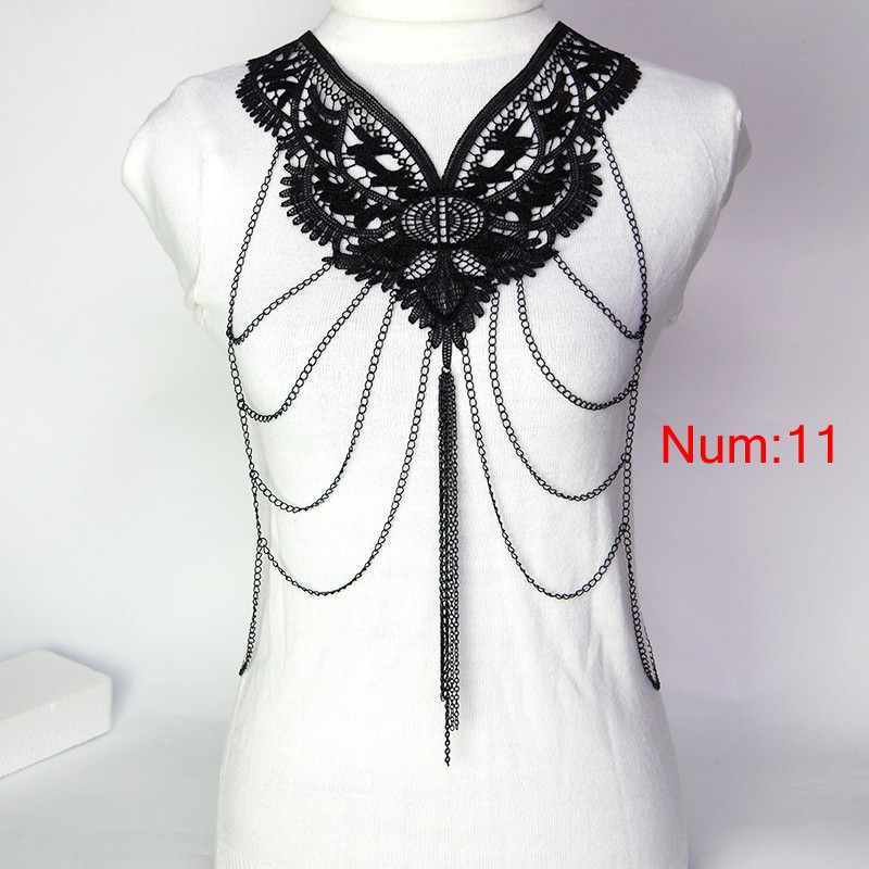 1988-7a16b66c3b466817104eca25902ffadd Elegant Party Gold/ Black Lace Necklace With Body Chain