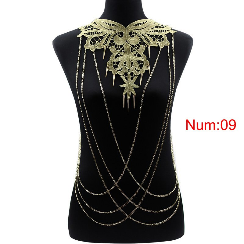 1988-87c705756f23f48c6e099a08d2fdead4 Elegant Party Gold/ Black Lace Necklace With Body Chain