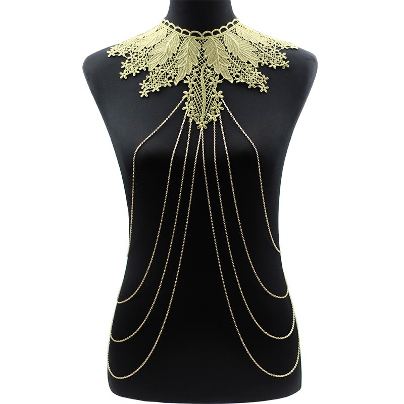 1988-8dde44dfe5d75f2a6f7df7f5e8757d3b Elegant Party Gold/ Black Lace Necklace With Body Chain