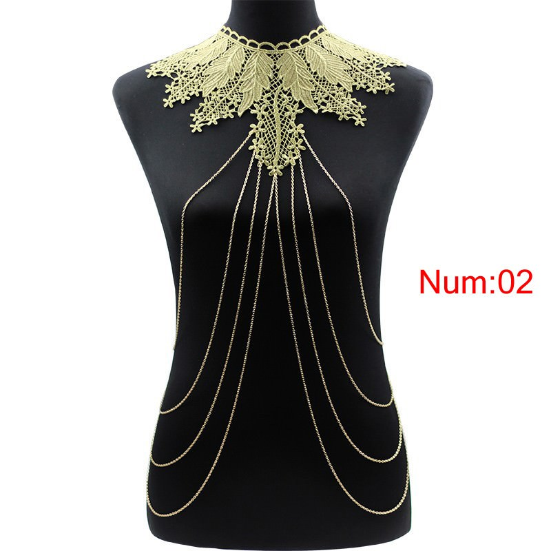 1988-8ffa3131415c3e26b67d16effa68e92e Elegant Party Gold/ Black Lace Necklace With Body Chain