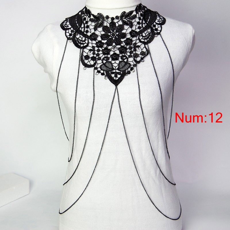 1988-9d81ec676b0840d169fff422e323d902 Elegant Party Gold/ Black Lace Necklace With Body Chain