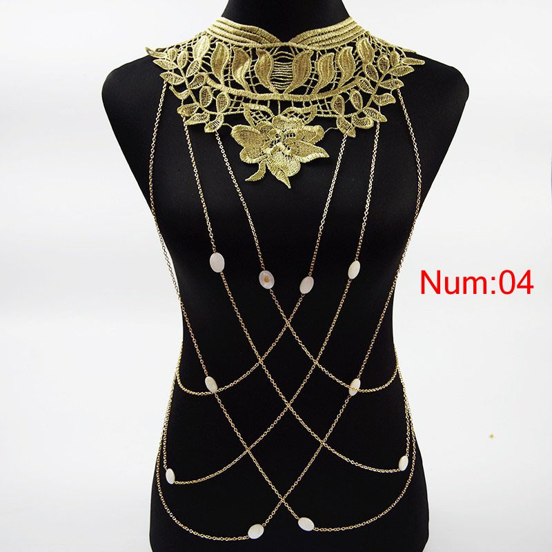 1988-a6aa7e42cf3fbb26aca44d605aef53df Elegant Party Gold/ Black Lace Necklace With Body Chain