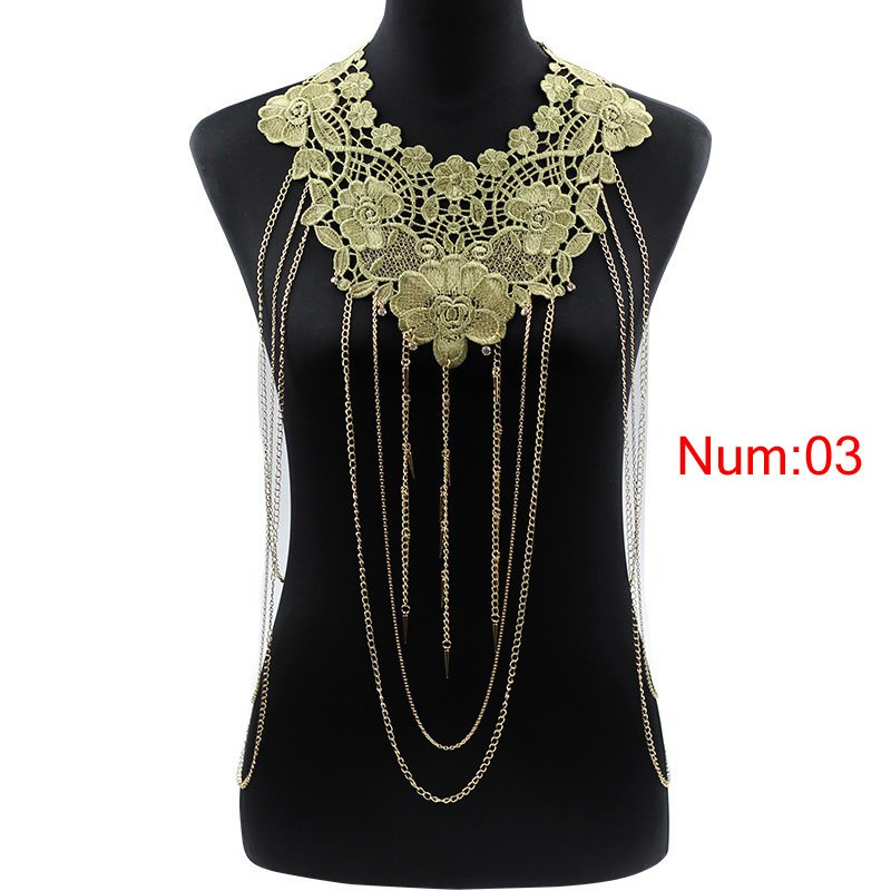 1988-b5b302da28546809ad61d43e60b6e889 Elegant Party Gold/ Black Lace Necklace With Body Chain