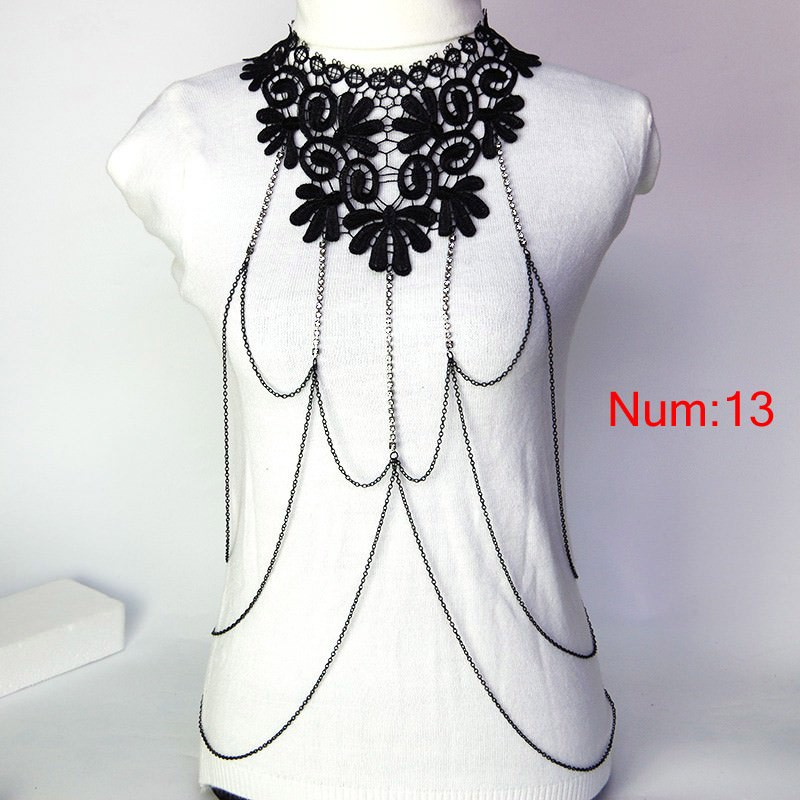 1988-f5856c45fe19f3039a6f131301b94548 Elegant Party Gold/ Black Lace Necklace With Body Chain