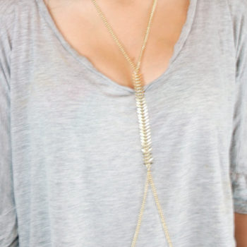 Sexy Punk Gold Body Chain Jewelry With Fish Spine Chain Accent