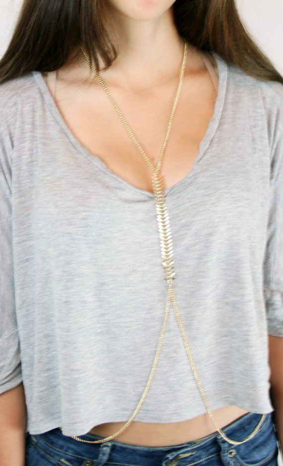 1990-c61f62005d2f835005da5f360dbf108e Sexy Punk Gold Body Chain Jewelry With Fish Spine Chain Accent