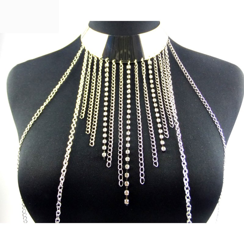 1997-317a90c7b98ef809cca5039d60f92e77 New Fashion One Piece Sexy Tassel Collar Body Chain Harness Jewelry