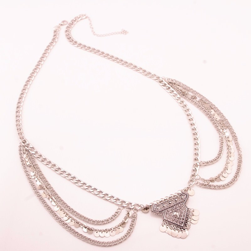 20840-1f50c37eff84162e222945a2f4d13c26 Multilayer Sequined Belly Chain with Center Geometric Pendant