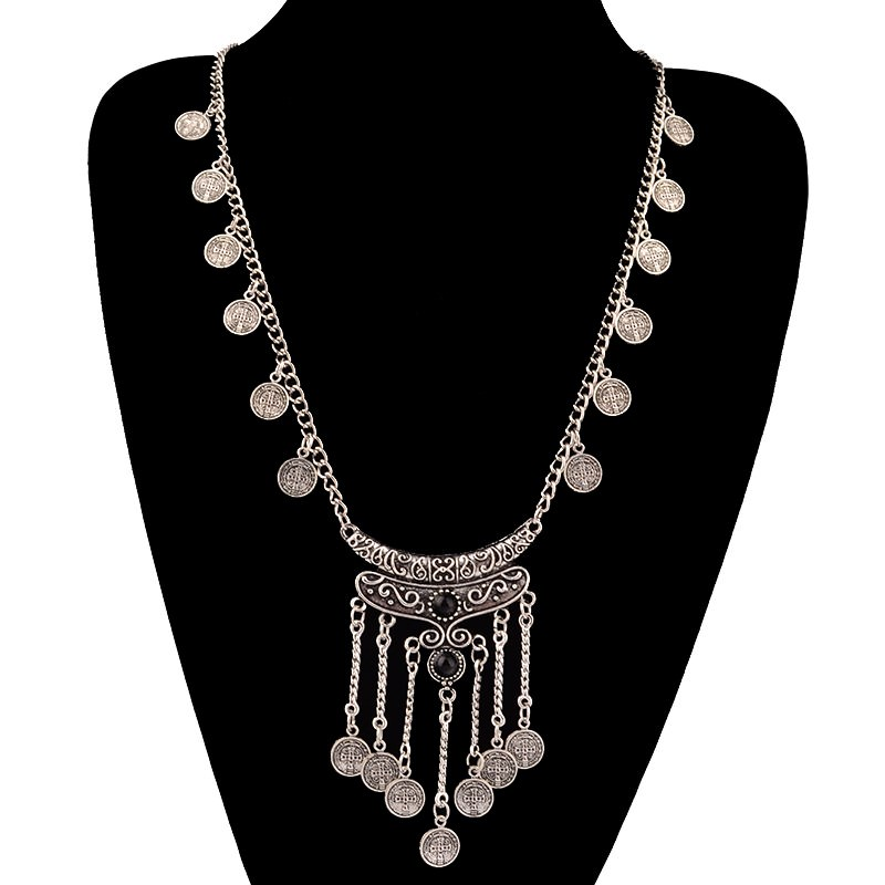20841-2591cc9fcafcc465103853d875593786 Long Bohemian Antique Silver Coins and Tassels Necklace For Women