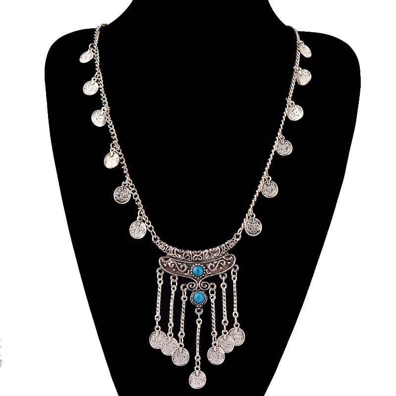 20841-a8979dac8ce080cf11a2b1c381aacfca Long Bohemian Antique Silver Coins and Tassels Necklace For Women