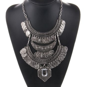 Large Bohemian Coin Choker Necklace With Crystal Pendant Accent