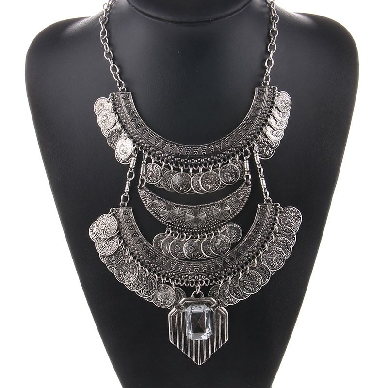 20842-3b92151f92c4b7365ed7811b905ad404 Large Bohemian Coin Choker Necklace With Crystal Pendant Accent