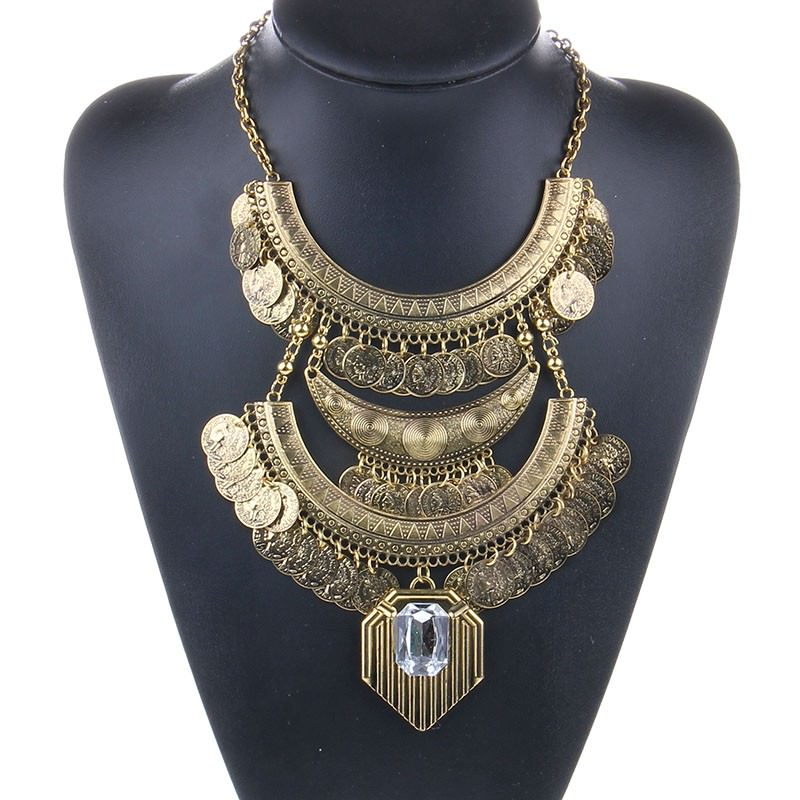 20842-d3290f2d30217e10181d6b6d06376425 Large Bohemian Coin Choker Necklace With Crystal Pendant Accent