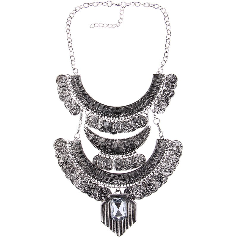 20842-dcf3afb5d138f41a3b93639d7f8491b3 Large Bohemian Coin Choker Necklace With Crystal Pendant Accent