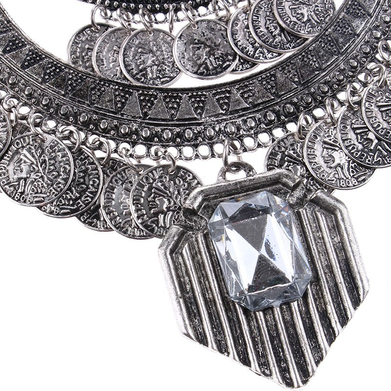 20842-e9bccd740b86e3ad22a08d0e2592071c Large Bohemian Coin Choker Necklace With Crystal Pendant Accent