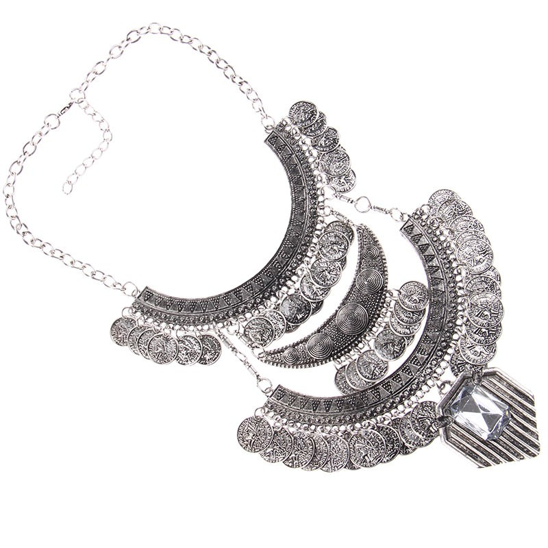 20842-fedc190ac6fa0adefb14525e2e91d8b7 Large Bohemian Coin Choker Necklace With Crystal Pendant Accent
