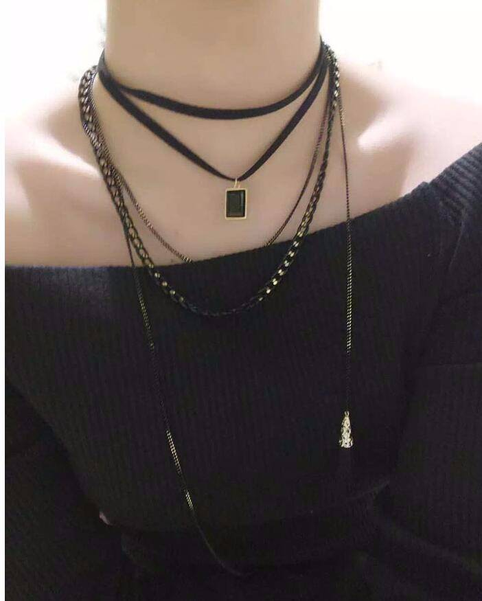 4984-09c9a78adb47a3bbb748387cacbaa772 Multi-layer Black Imitation Leather Choker Necklace With Gem Pendant