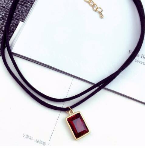 4984-1dbcdea454a79847f464064b2f30ed9a Multi-layer Black Imitation Leather Choker Necklace With Gem Pendant