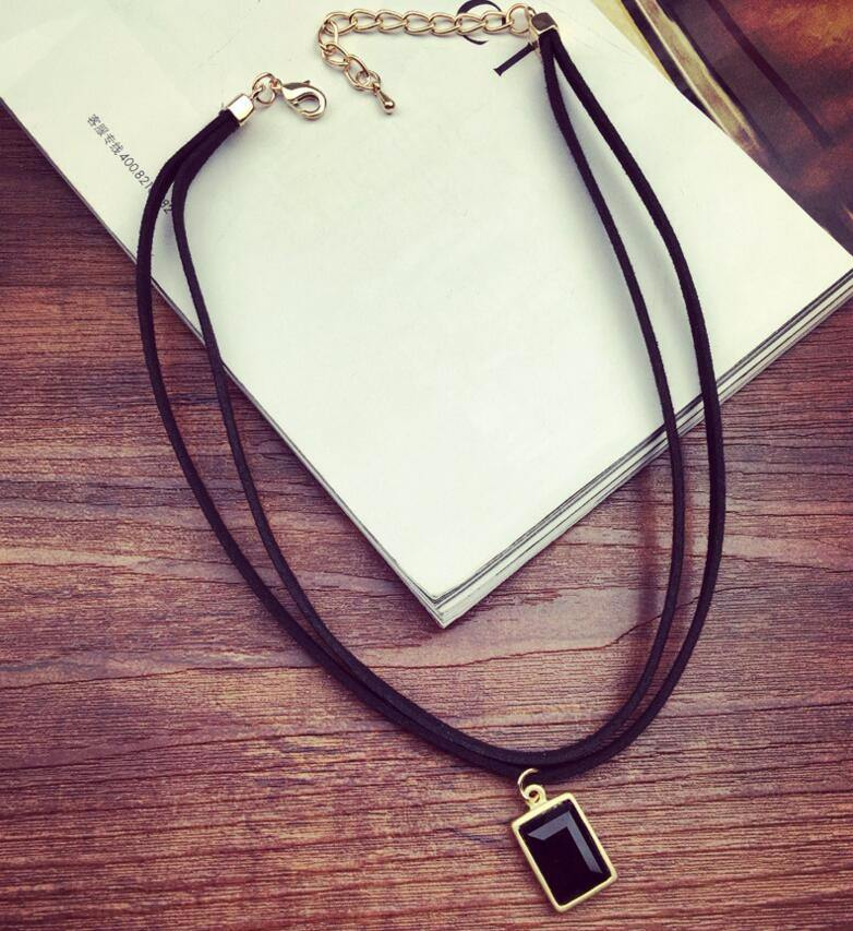 4984-2679178551526207b124c041dbee5ea9 Multi-layer Black Imitation Leather Choker Necklace With Gem Pendant