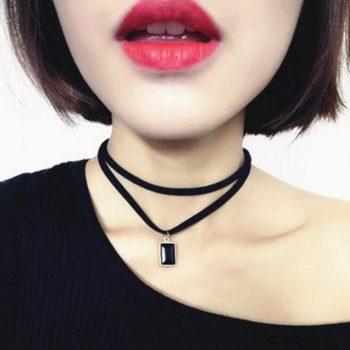Multi-layer Black Imitation Leather Choker Necklace With Gem Pendant