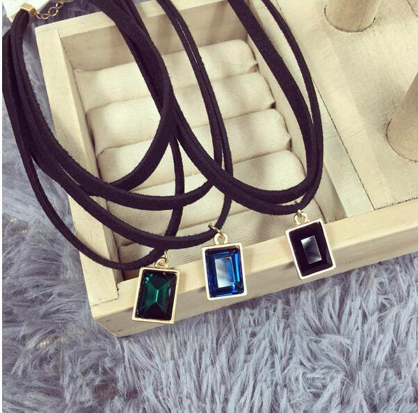 4984-9086e291b0b57610384023996638b5ae Multi-layer Black Imitation Leather Choker Necklace With Gem Pendant