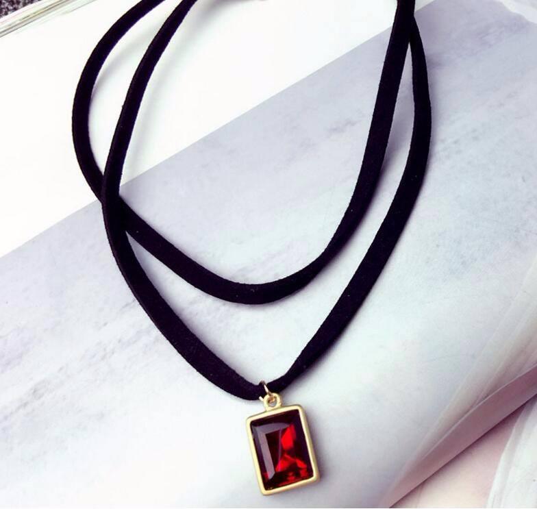 4984-a5c5526f47d3822024cf0045eddafdb1 Multi-layer Black Imitation Leather Choker Necklace With Gem Pendant