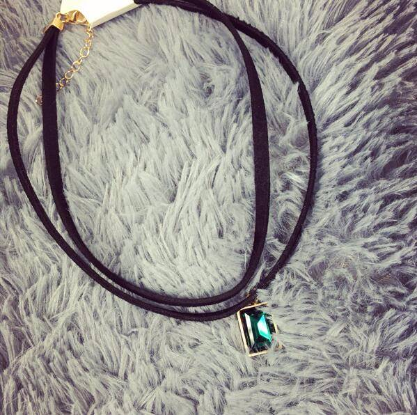4984-b09d3a36333ec5b77dbe275662502555 Multi-layer Black Imitation Leather Choker Necklace With Gem Pendant