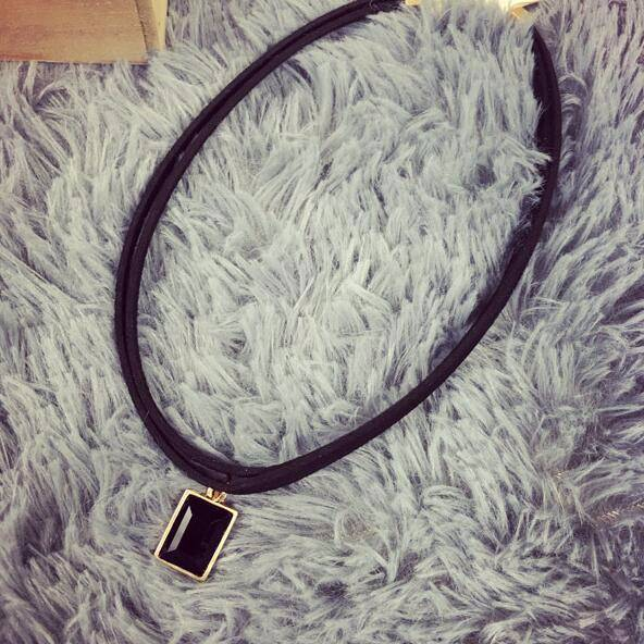 4984-c0b76248d55952199c60bdfc7315ca63 Multi-layer Black Imitation Leather Choker Necklace With Gem Pendant