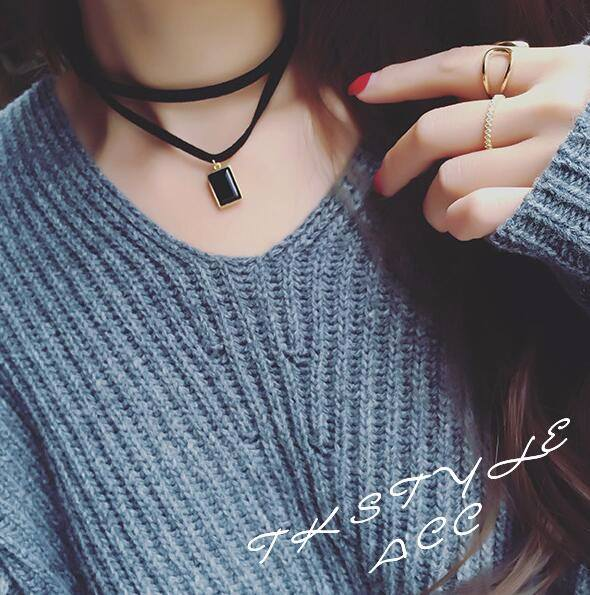 4984-c959bc0595696e587cee0a70abad3b81 Multi-layer Black Imitation Leather Choker Necklace With Gem Pendant