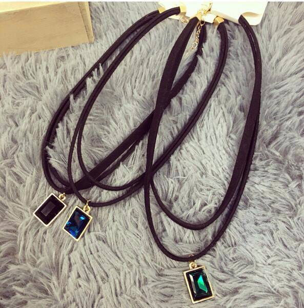4984-c969eed72c054c8886f3a304b323016b Multi-layer Black Imitation Leather Choker Necklace With Gem Pendant