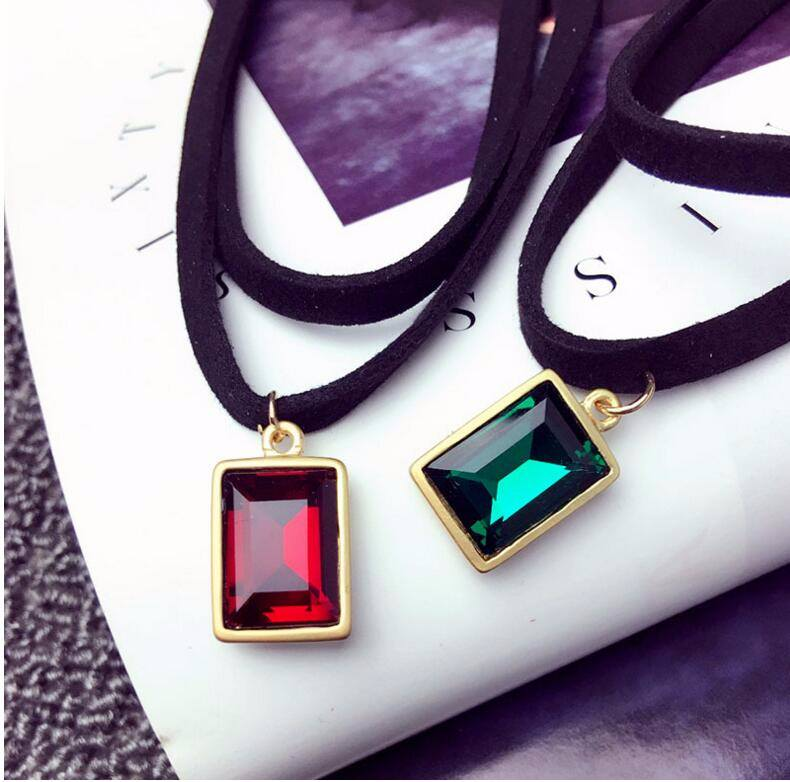 4984-cb2cc8ad06958b8633013df8f05d1b18 Multi-layer Black Imitation Leather Choker Necklace With Gem Pendant