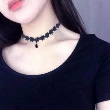 Black Daisy Flower Lace Choker Necklace With Pendant