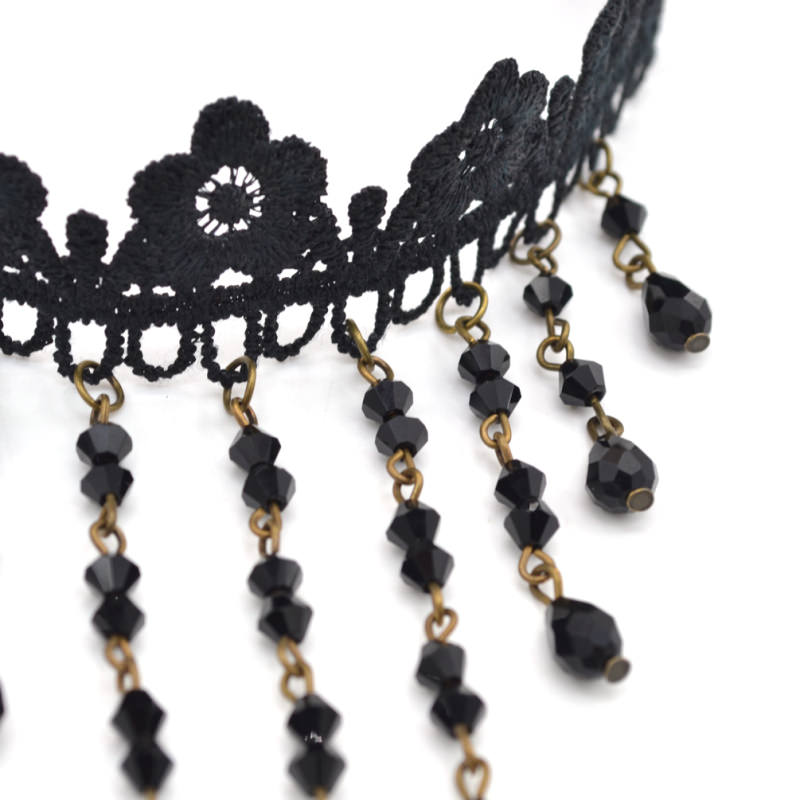 4989-9a907484e7781bf86afe92435906bc43 Gothic Victorian Crystal Tassel Tattoo Choker Necklace For Women