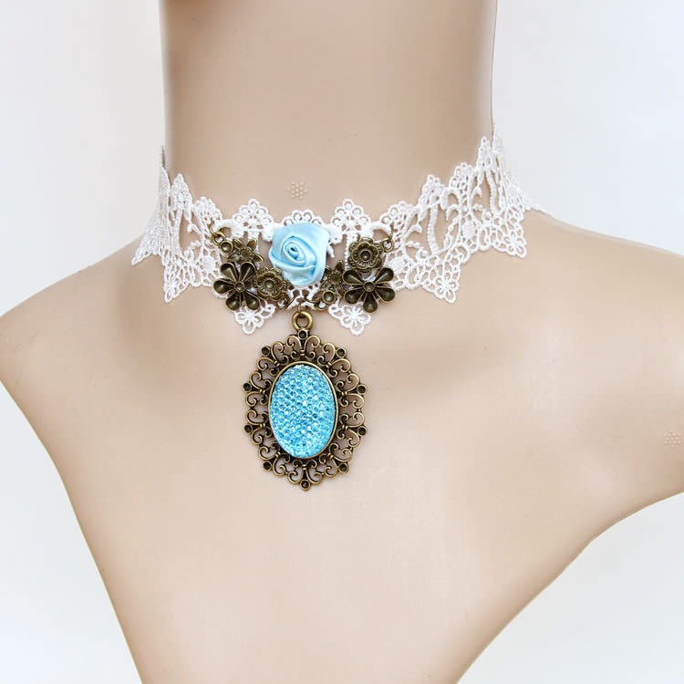4990-3f1c38a137fb93c9f3bc287d519d85c2 Vintage & Victorian Style Gothic Lolita Choker Necklace In Various Designs