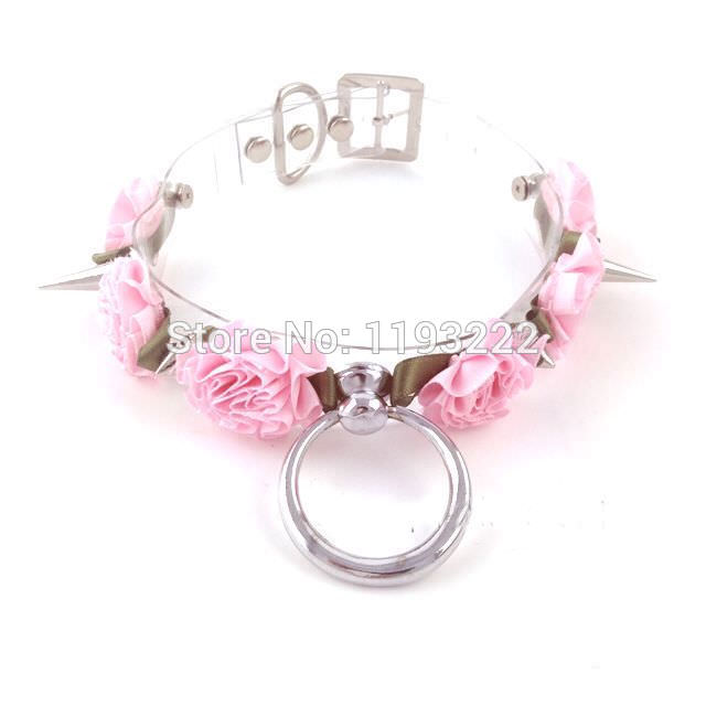 4993-648c9d7f02a5c38c7cdc355ef725fec5 Sexy Harajuku Flower And Spikes Clear Collar Necklace Jewelry