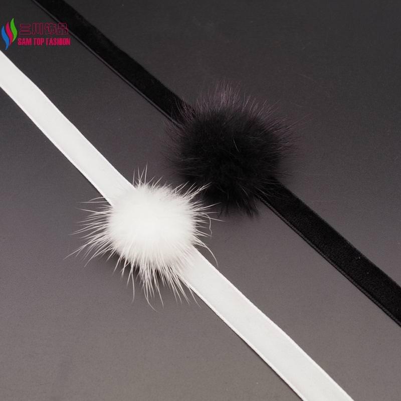 4994-1a0a9ee2328885e017f029c05d701760 New Arrival Black Or White Mink Fur Choker Necklace
