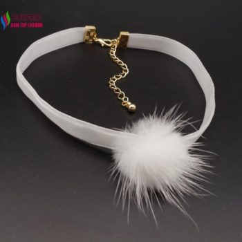 New Arrival Black Or White Mink Fur Choker Necklace