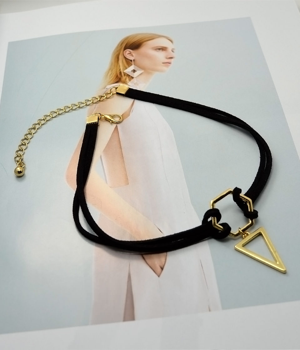 4995-1238f4a9c5cb638a18b3875c9f7f8352 Double Leather Strap Choker Necklace With Gold Plated Pendant