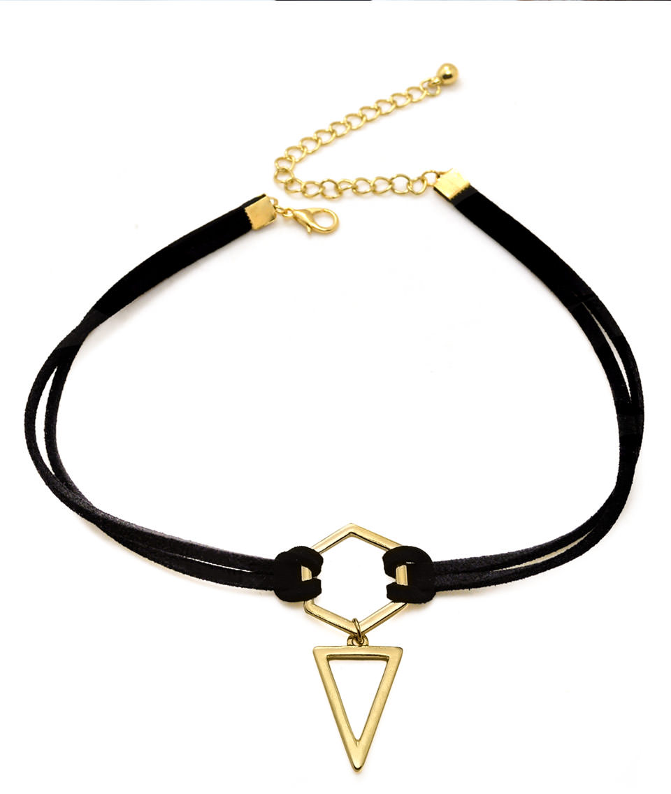 4995-1d2bb9a7c69788cd92db2ca8f7fe0159 Double Leather Strap Choker Necklace With Gold Plated Pendant