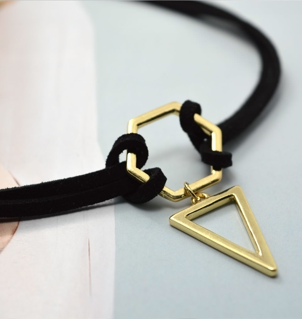 4995-48a5c67426136873e718ad3de918b5de Double Leather Strap Choker Necklace With Gold Plated Pendant