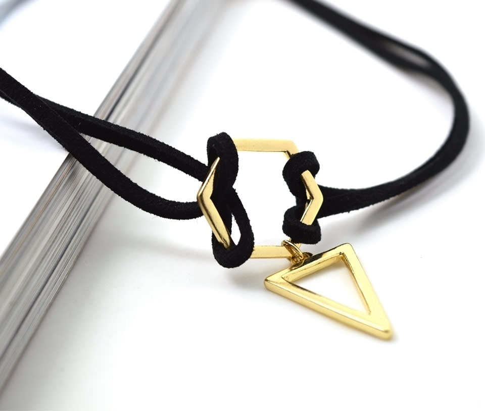 4995-735b78a9db4ac27ad16524aad05866ea Double Leather Strap Choker Necklace With Gold Plated Pendant