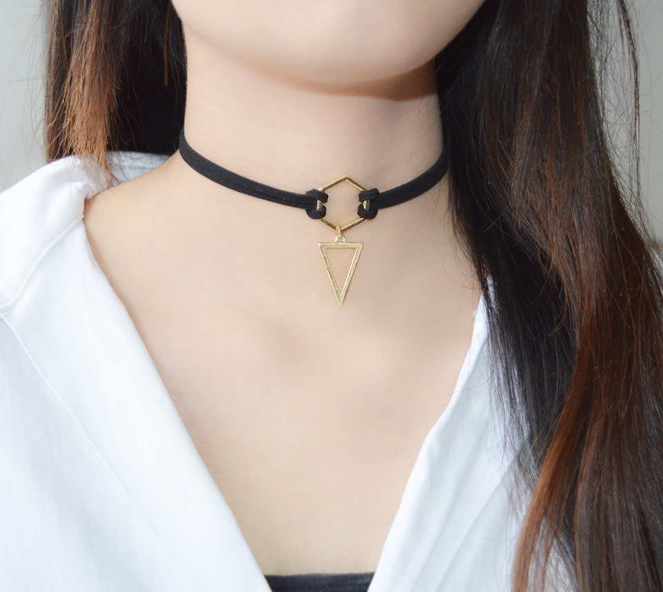 4995-e3962ee4312d1b0659b048cd12aebe4a Double Leather Strap Choker Necklace With Gold Plated Pendant